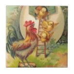 Volière d'oeufs de poussin de coq de Pâques Carreau En Céramique