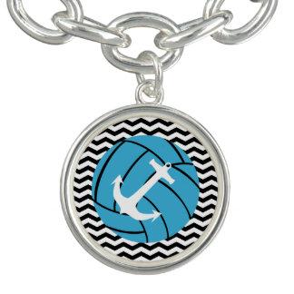 Volleyball de turquoise et bracelet de charme