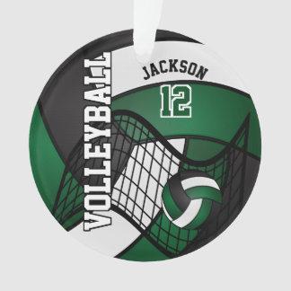 Volleyball vert-foncé, blanc et noir