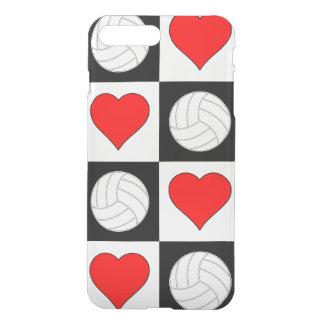 Volleyballs et caisse Checkered de coeur noir et Coque iPhone 7 Plus