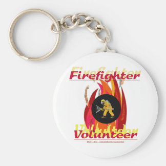 Volontaire de sapeur-pompier porte-clé rond