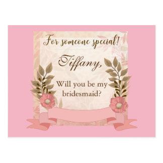 Volonté florale rose vous soyez ma demoiselle carte postale