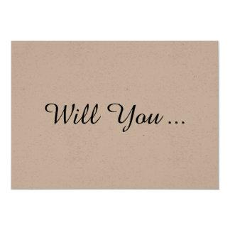 Volonté rustique vous soyez ma carte de carton d'invitation  12,7 cm x 17,78 cm