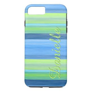 Vos rayures d'aquarelle de turquoise de vert de coque iPhone 7 plus