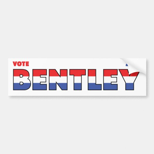 Vote Bentley 2010 élections blanc et bleu rouges Adhésifs Pour Voiture