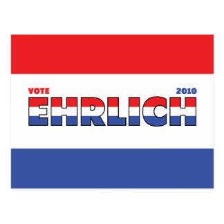 Vote Ehrlich 2010 élections blanc et bleu rouges Carte Postale