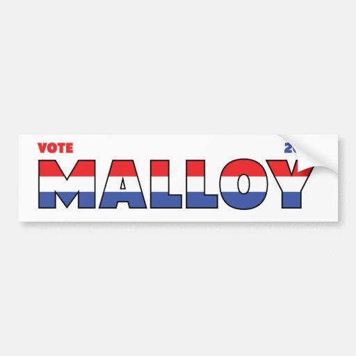 Vote Malloy 2010 élections blanc et bleu rouges Adhésifs Pour Voiture