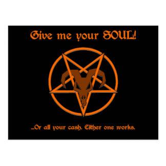 Votre âme ou pentagramme de Satan d'argent liquide Cartes Postales