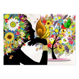 Votre carte de visite - profil floral de papillon