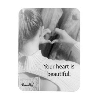 """""""Votre coeur est bel"""" aimant noir/blanc Magnet Rectangulaire"""