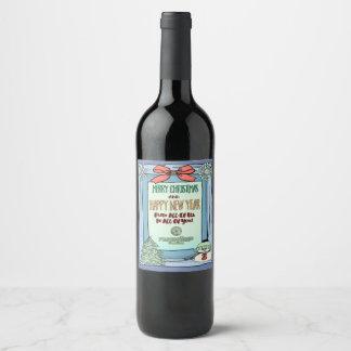 Votre étiquette de bouteille de vin de Joyeux Noël