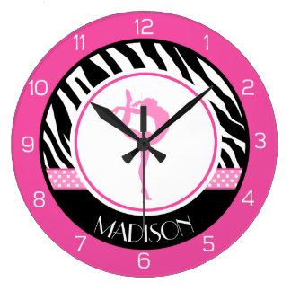 Votre gymnastique nommée d'impression de zèbre grande horloge ronde