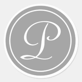 Votre lettre, monogramme P, gris initial Sticker Rond