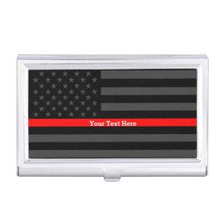 Votre ligne rouge mince drapeau chic des textes étui pour cartes de visite
