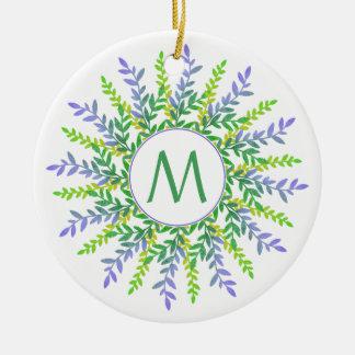 Votre monogramme dans un ornement botanique de vue
