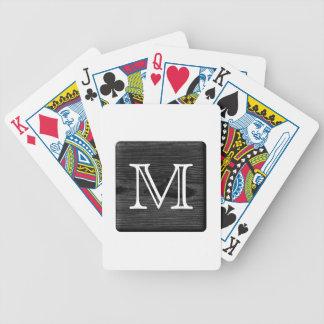 Votre monogramme de lettre. Image de bois noir Cartes À Jouer