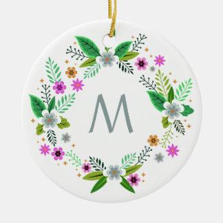 Votre monogramme en ornement de vue de fleur