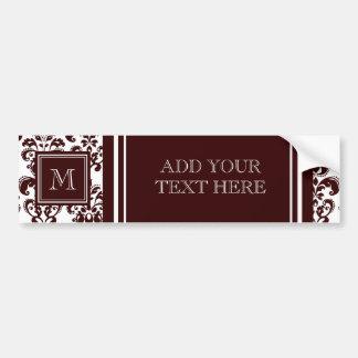 Votre monogramme, motif 2 de damassé de Brown Adhésifs Pour Voiture