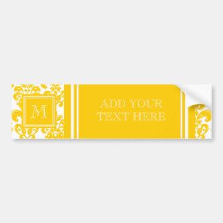 Votre monogramme, motif jaune 2 de damassé autocollant de voiture