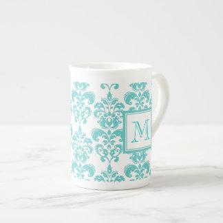 Votre monogramme, motif turquoise 2 de damassé mug en porcelaine