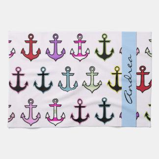 Votre nom - ancres colorées (ancres de bateau) - serviettes pour les mains