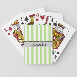 Votre nom - rayures, lignes parallèles - blanc cartes à jouer