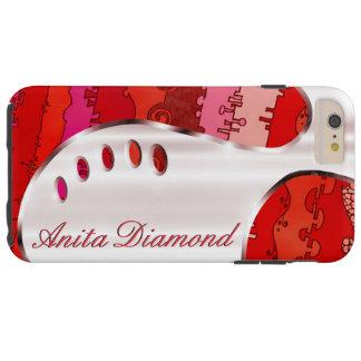 Votre nom sur ce rouge d'argent et d'écarlate de coque iPhone 6 plus tough