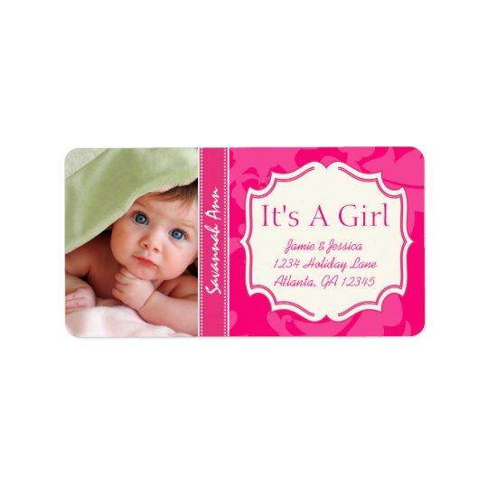 Votre nouveau bébé de photo son un cru de ROSE de Étiquette D'adresse