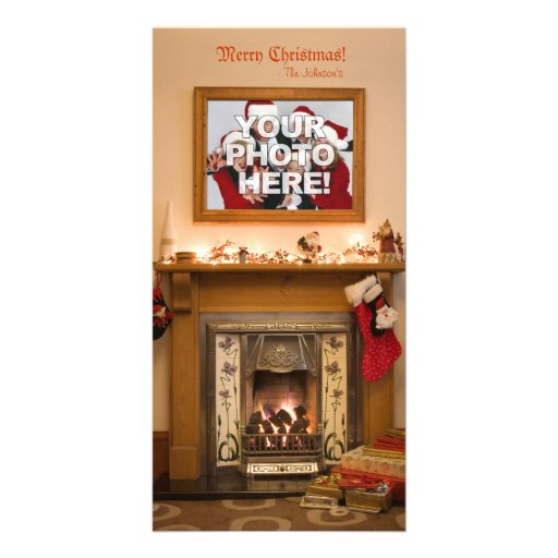 Votre photo - bas et cheminée de Noël Cartes De Vœux Avec Photo