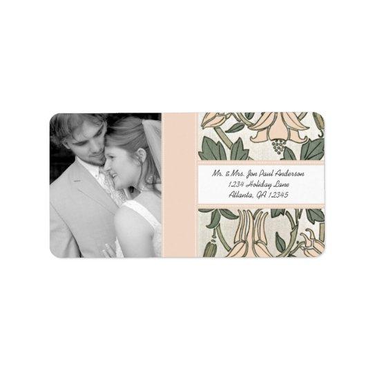 Votre pivoine et vert argentés vintages de mariage étiquette d'adresse
