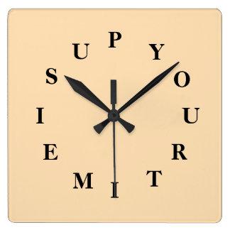 Votre temps est en hausse l'horloge murale de blé horloge carrée