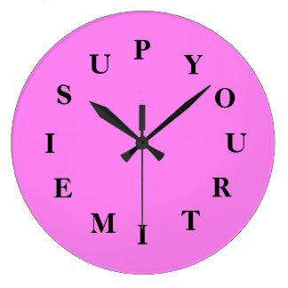 Votre temps est en hausse l'horloge ronde violette grande horloge ronde