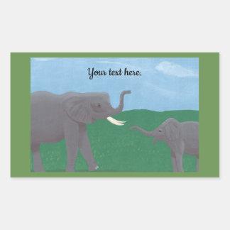 Votre texte, autocollants d'éléphant, mère et