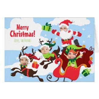Votre visage ici ! Famille de carte de Noël 4