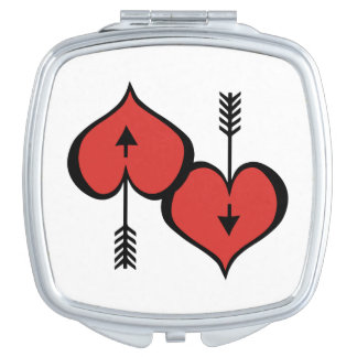 Vous aimant miroir compact rouge de coeur