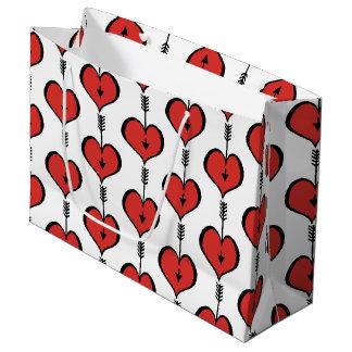 Vous aimant sac rouge de cadeau de coeur