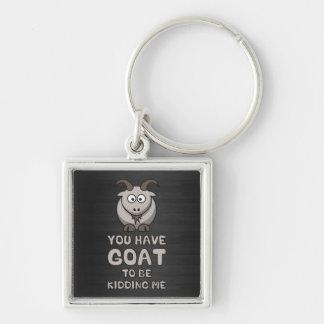 Vous avez la chèvre pour me badiner porte-clé carré argenté