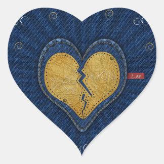 -vous coeur brisé de tissu de cuir et de jeans sticker cœur