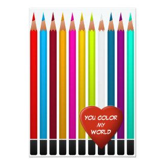 Vous colorez ma carte de Valentine du monde Carton D'invitation 12,7 Cm X 17,78 Cm