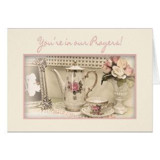VOUS êtes DANS NOS PRIÈRES - service à thé vintage Cartes