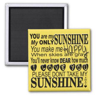Vous êtes ma typographie de soleil magnet carré
