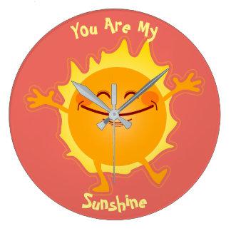 Vous êtes mon soleil personnalisé grande horloge ronde