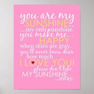 Vous êtes mon soleil - rose - affiche