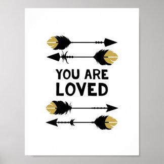 Vous êtes - noir et or - copie aimée d'affiche posters