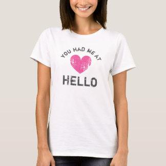 VOUS M'AVEZ EU BONJOUR au T-shirt vintage de coeur