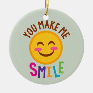 Vous me faites le sourire Emoji Ornement Rond En Céramique