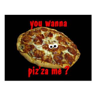 """""""vous me voulez au piz'za ?"""" carte postale"""