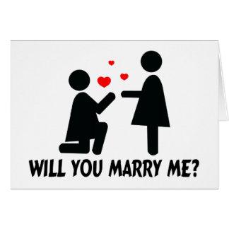 Vous m'épouserez avez plié la femme de genou et la carte de vœux