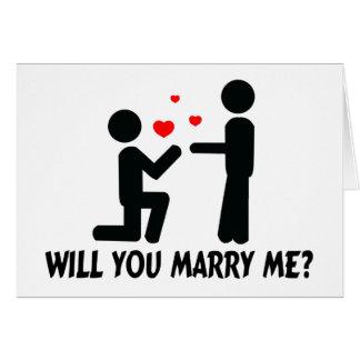 Vous m'épouserez avez plié l'homme de genou et carte de vœux