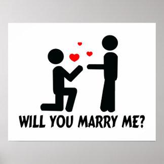 Vous m'épouserez avez plié l'homme de genou et posters